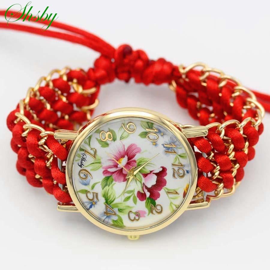 Shsby nuevas damas flor tejidas a mano reloj de oro vestido de las mujeres relojes de tela de cuarzo de alta calidad reloj de las niñas dulces