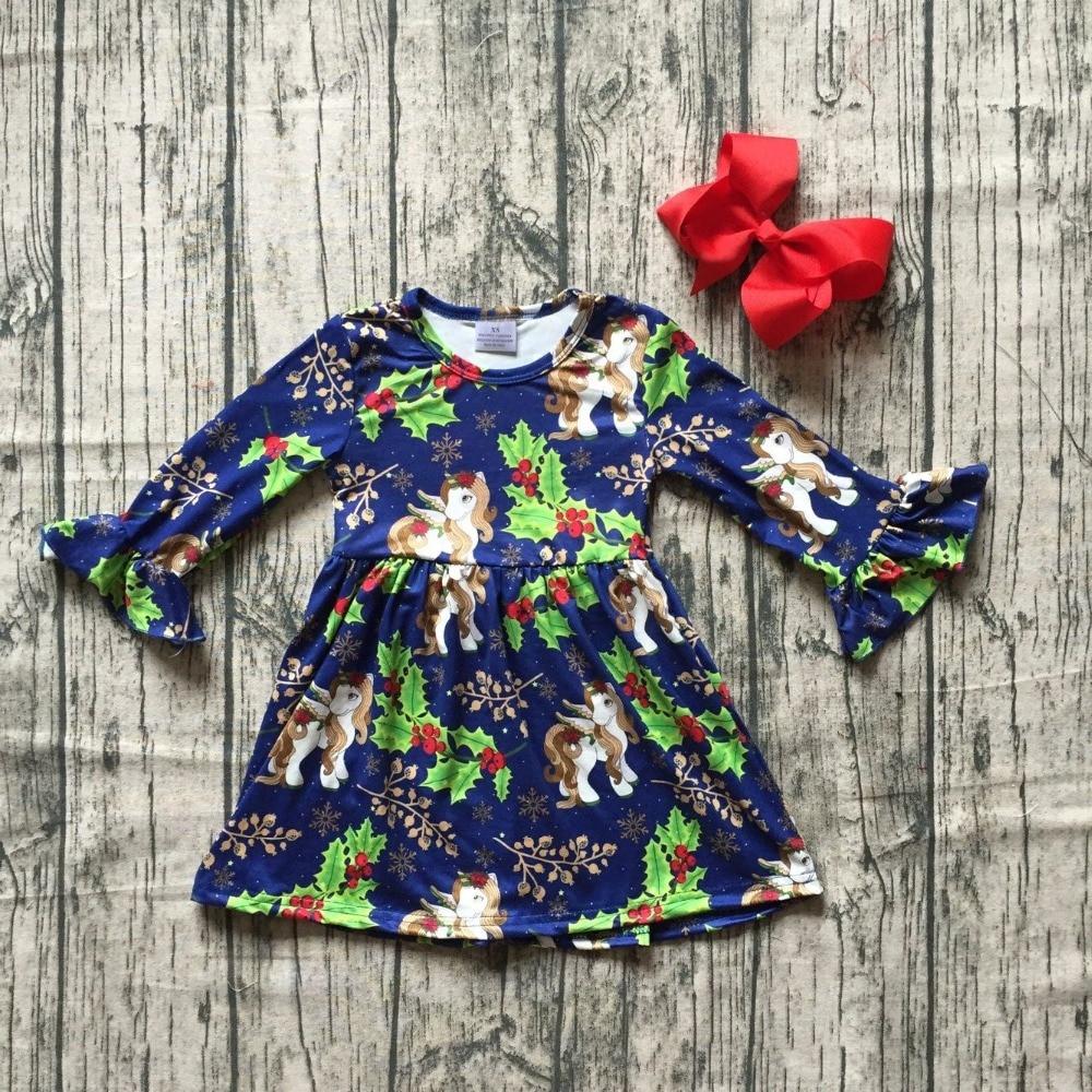 все цены на hot new Christmas tree Fall/winter cotton milk silk baby girls boutique children clothes cotton dress unicorn ruffles match bow онлайн