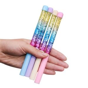 Image 5 - 50 pcs 귀여운 젤 펜 0.5mm 요정 스틱 볼펜 드리프트 모래 반짝이 크리스탈 펜 레인보우 컬러 크리 에이 티브 볼 펜 키즈 반짝이