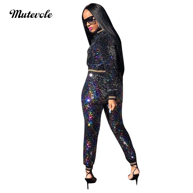f6c3c8336e69 Mutevole New Sexy Sequin Two Piece Sets Women Glitter Crop Jacket and Pants  2 Piece Sets Long Sleeve Zipper Top Outfits Sets-in Women's Sets from  Women's ...