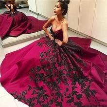 Trauben Lila Farbe 2016 Fashion Ballkleider Mit Schwarzen Applikationen Abendkleider Doppel V-ausschnitt Abendkleid Reizvolles Formales Kleid