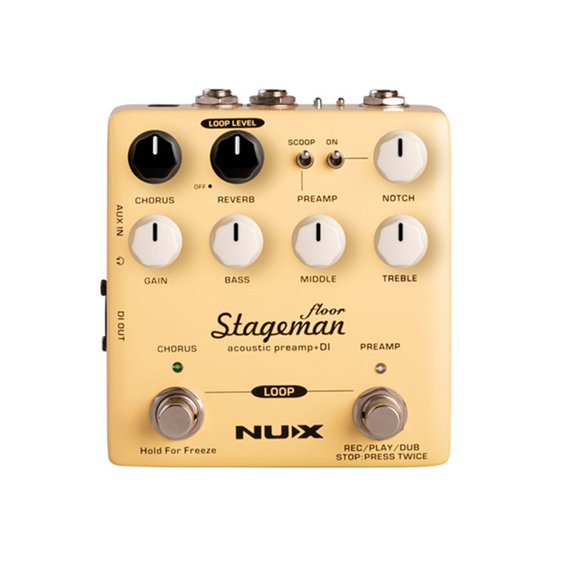 NUX StageMan Floor Acoustic Preamp DI Pedal Chorus Reverb Freeze Digital Effects Looper Function Guitar Amplifiers