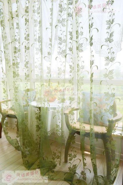 Fresh Morden Fashion Glass Yarn Broadened Vine Leaves Window Sheer Curtains For Living Room Red Green
