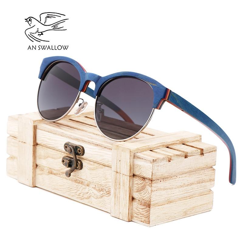 2019 New Skateboard Wood Polarized Semi frame Sunglasses for Men TAC Lens UV400 Anti retro Ultraviolet SunglassesMens Sunglasses   -