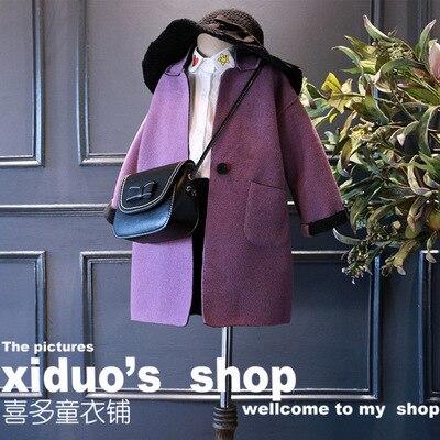 New Worsted 2016 Girls Mid long Style Coats Children Fashion Jackets Infants Coat Toddler Autumn Coat