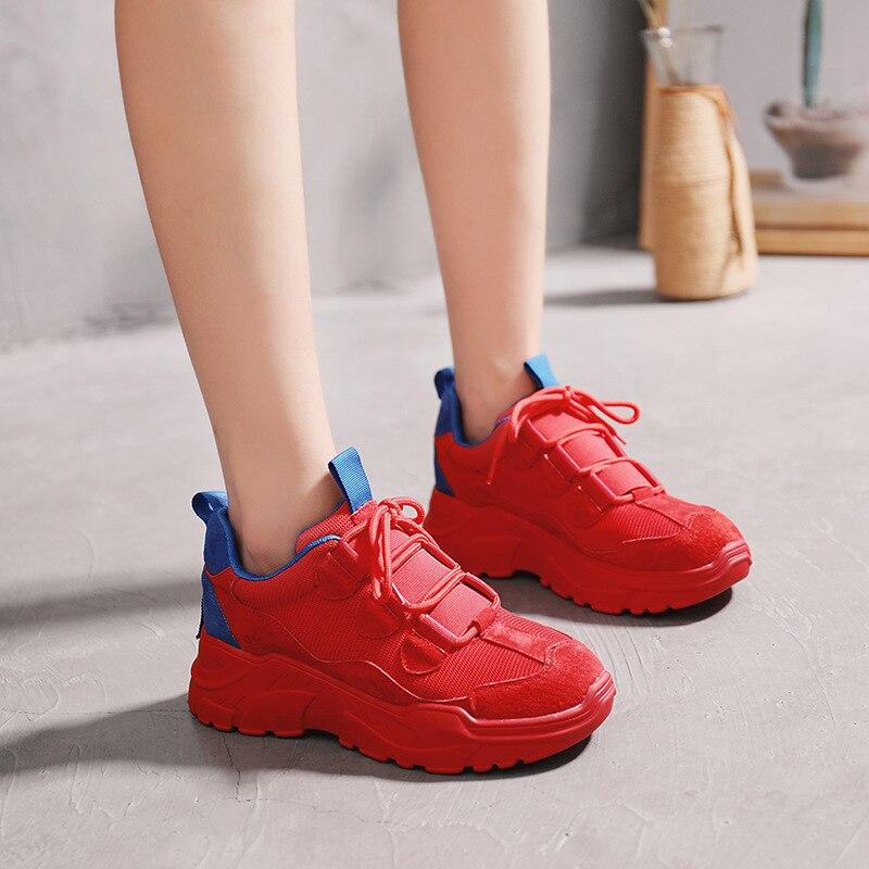 Mode Tendance Rouge Sauvage Couleur Polyvalent 2018 Chaussures Sport rouge Noir Semelle De Épaisse Femmes Simple Automne Plates Nouvelle Correspondant vin SvxwqEzx