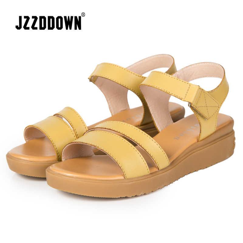 Echt Leer Vrouwen Flats Strand sandalen schoenen dames Platform Sneakers Flip Flop schoen 2018 zomer Mode Mid Hak schoeisel