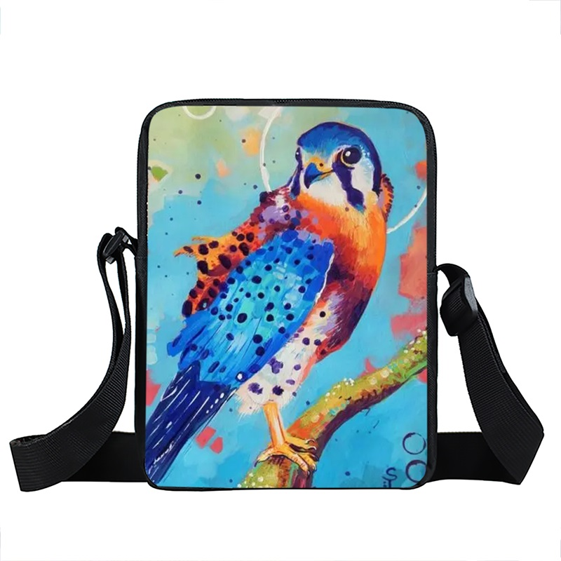 Pintura al óleo animales coloridas bolsas de mensajero h owl cat fox ...