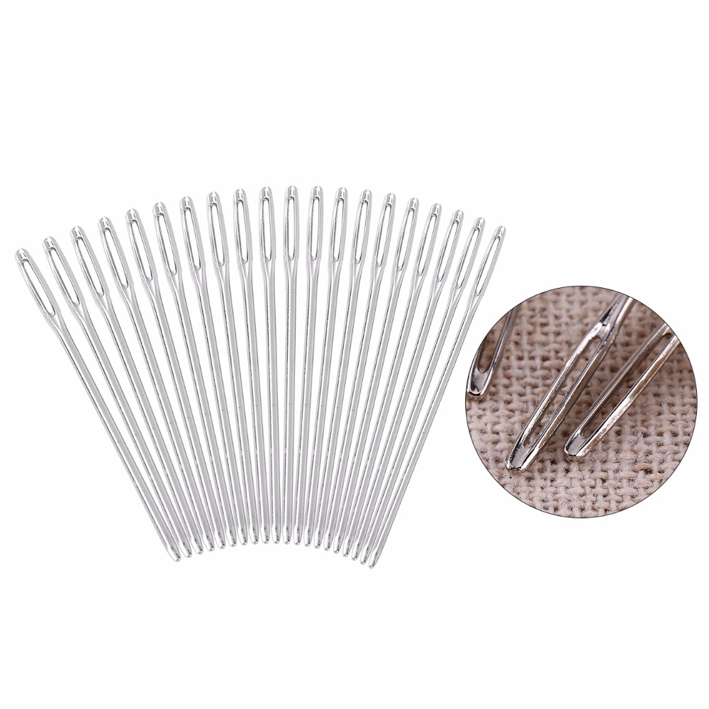 Ownsig 20 Pieces Large-eye Stitching Needles Hand Sewing Needles for Leather Pro