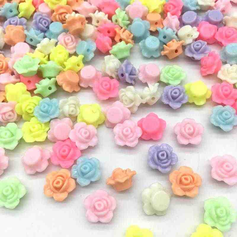 DIY 13x13mm 50pcs Cheap MIX Colors Lovely Flower Shape Acrylic beads flatback Cabochon Scrapbooking Craft jewelry Accessories