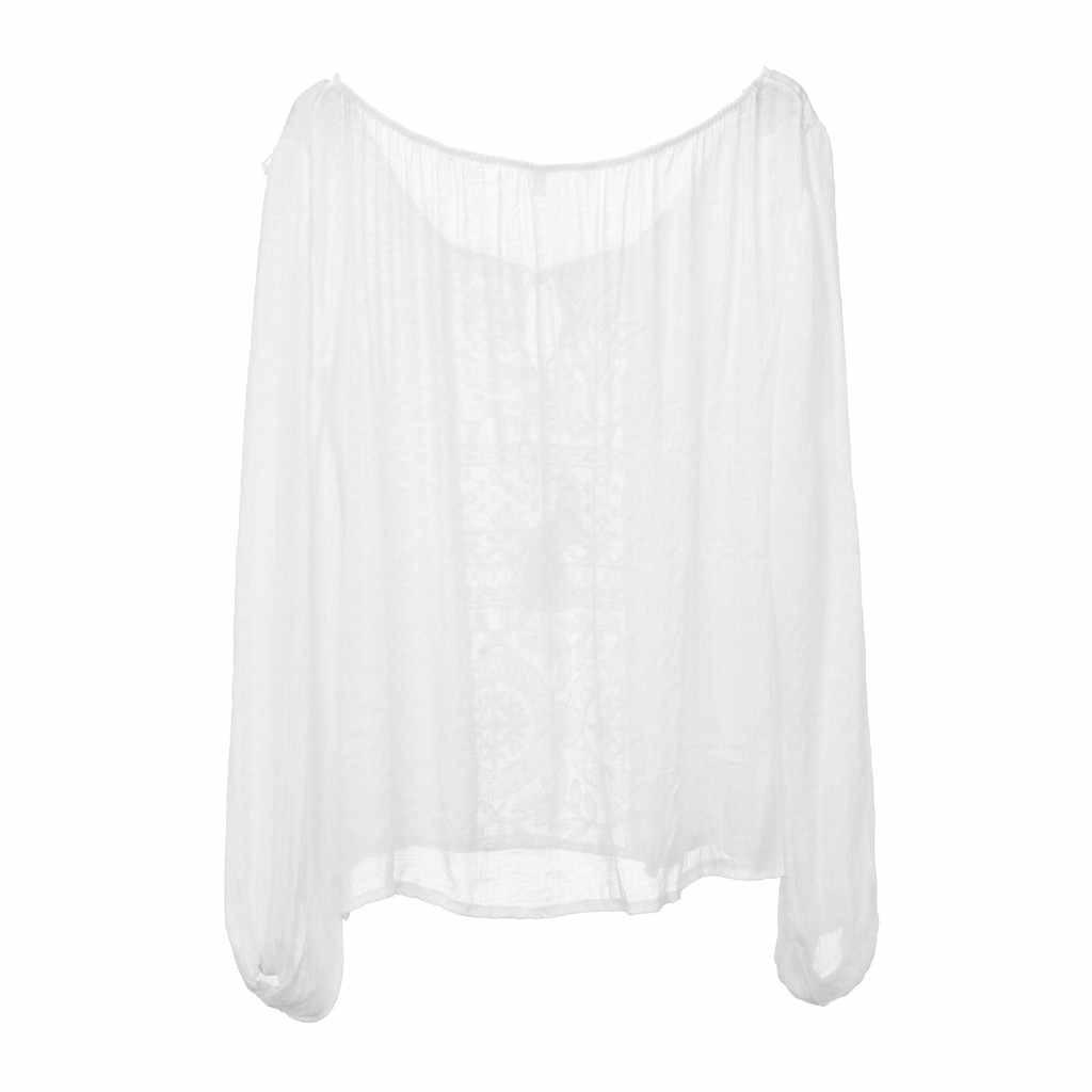 2019 חדש סקסי נשים כבוי כתף חולצות מזדמן בתוספת גודל חולצה Boho תחרה סרוגה ארוך שרוול blusas mujer דה moda