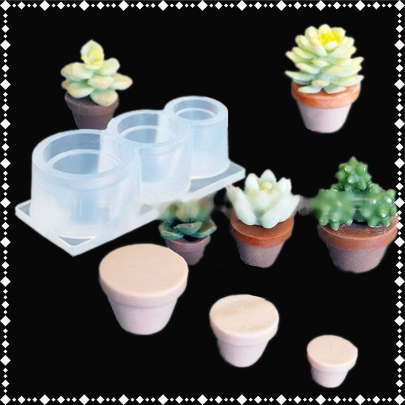 Mini Size Flower Succulent Plants Flowerpot Silicone Resin Mold Art Craft Tools