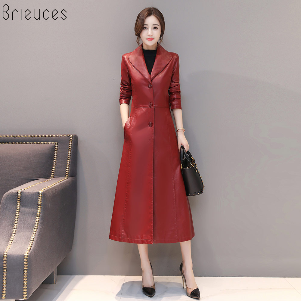 Brieuces Women Long   Leather   Jacket 2018 New Fashion Ladies Elegant Washed PU   Leather   Coats Trench Female Outerwear Plus Size