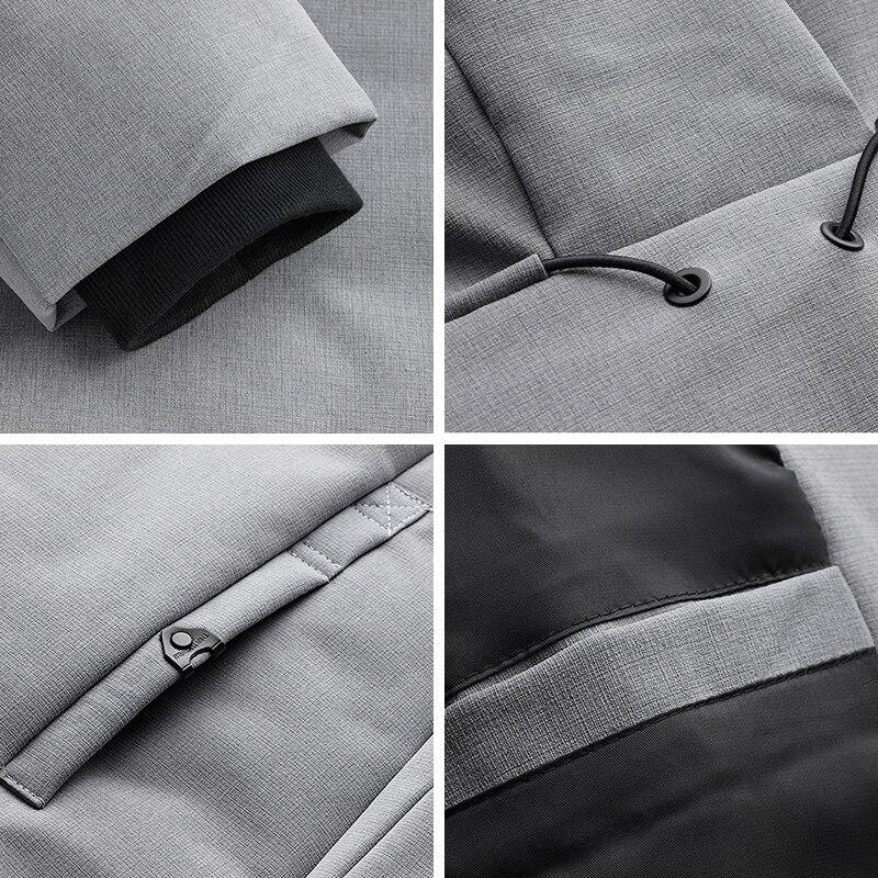 Новые зимние мужские парки с капюшоном, толстая серая черная брендовая одежда, мужская приталенная теплая одежда, мужская одежда, пальто ра... - 6