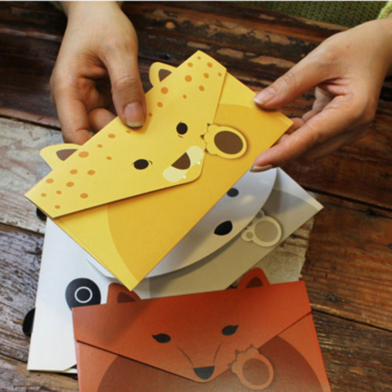 Купить с кэшбэком Mini Letter Animal Envelope Writing Stationery Kawaii Birthday Christmas Card Gift 6pcs/lot