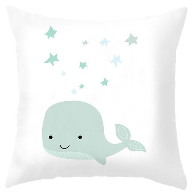 Custom Baby Cartoon Cushion Whale Print Nordic Kids Decoration Cute Rabbit Bear Eyelashes Love Decorative Pillows For Office Car