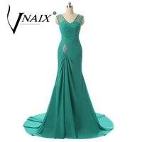 DE480 Illusion V Neck Hạt Evening Dresses Voan Turquoise Royal Blue Prom Đảng Dress với Pha Lê và Pleat 2018