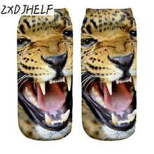 "ZXDJHELF New Women Funny ""JAGUAR""Animal 3D Print Socks Casual Breathable Low Cut Ankle Socks Cotton Hosiery Unisex Sock S01514"
