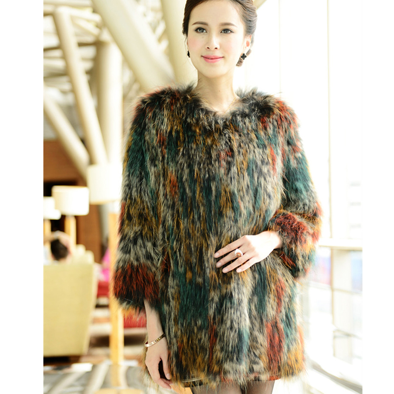 2015 The new high end custom fox fur raccoon fur knitting hit color knit jacket with