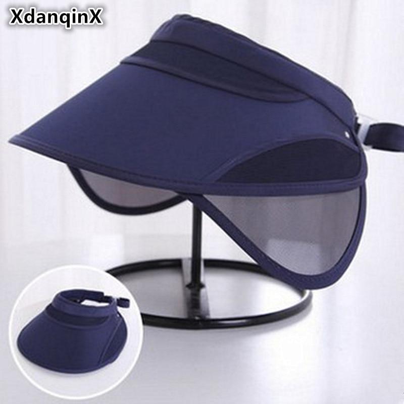 XdanqinX Summer Women's Sunscreen Empty Top Cap Sun Hats Sun Visor Retractable Anti-UV Beach Hat For Adult Women 2018 New Style