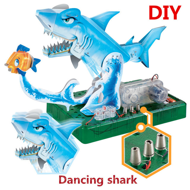 72set Lot Educational Toys Sea World DIY Assembly 3D Origami Electric Dancing Shark Model Student