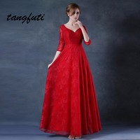 Red Lace Evening Dresses Long With Sequined Half Sleeve Sexy V Neck Open Back A Line Evening Party Gowns Real vestido de festa