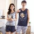 Горячие продажи пары пижамы установить лето мужчины и женщины без рукавов пижамы жилет любителей пижамы пижамы домашняя одежда