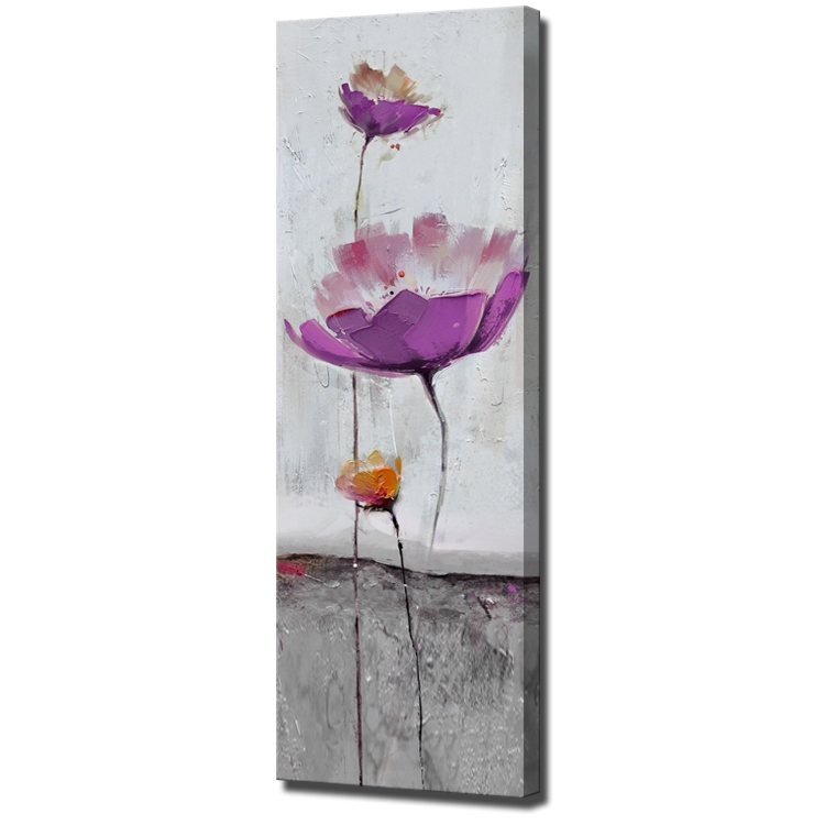 Purple Flower Oil Painting Abstract Wall Art Picture: Heavy Texture Purple Simple Flower Modern Abstract Oil