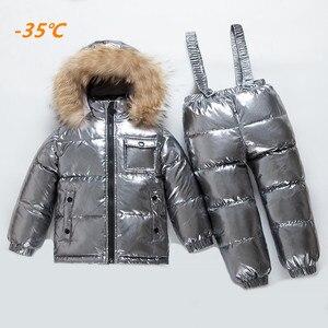 Image 2 -  40 derece rus kış çocuk beyaz ördek aşağı seti erkek kız gerçek kürk kapşonlu yaka askısı takım elbise çocuklar kar kayak takım elbise