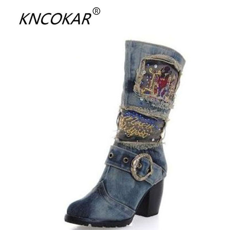 KNCOKAR 2017 New Martin boots cowboy boots fashion comfortable women' high heels in the diamond Medium barrel boot the new high quality imported green cowboy training cow matador thrilling backdrop of competitive entrance papeles