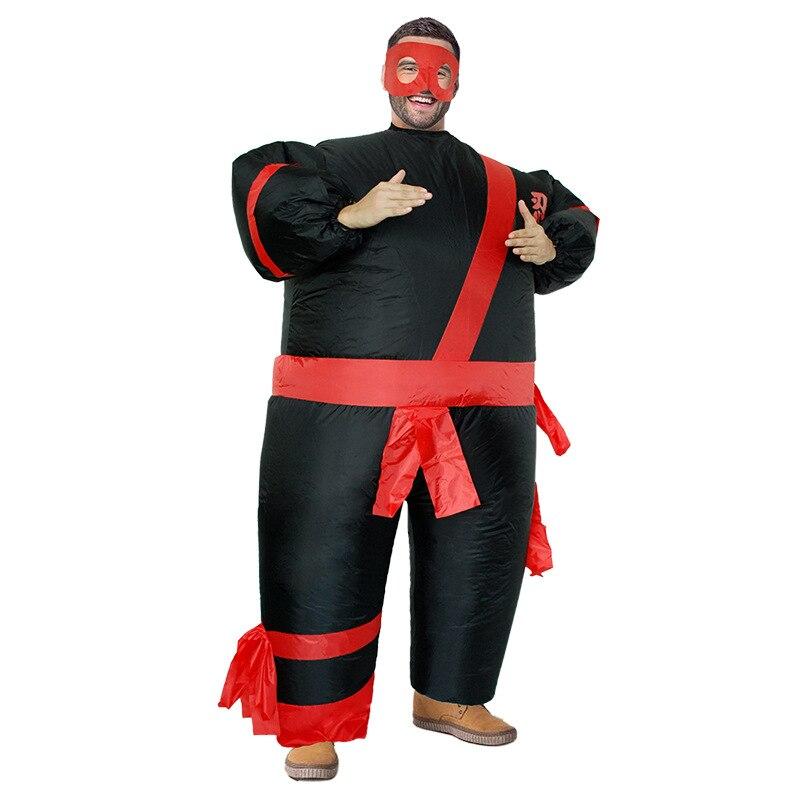 Man Adult Inflatable Black Ninja Costumes Halloween Party Clothing Hokkaido Samurai Suits Japanese Ninja Costume Halloween Party