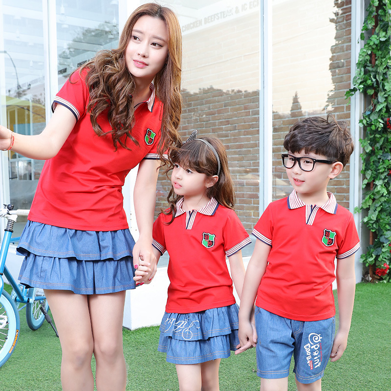 2016 New Spring Summer Family Dress Uniforms Boys Girls Class Pupils Suit Kindergarten Children Sports School Clothes