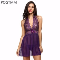 Plus Size Camison Sexy Mujer Women Solid Halter Sleepwear Lace Splicing Sexy Lingerie Dress G String