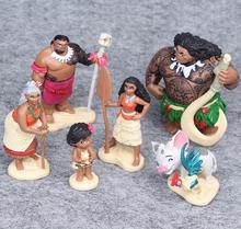6 Pcs/Set 6-12cm Action Figures Moana Waialiki Maui Heihei Moana Adventure PVC Princess Toy Collection Dolls Children Gift