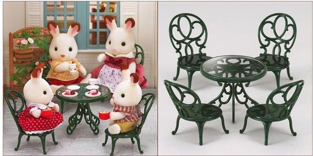 New Sylvanian Families Green Table + Chairs Set Without Dolls Miniature  Dollhouse Furniture Kids Pretend Toys
