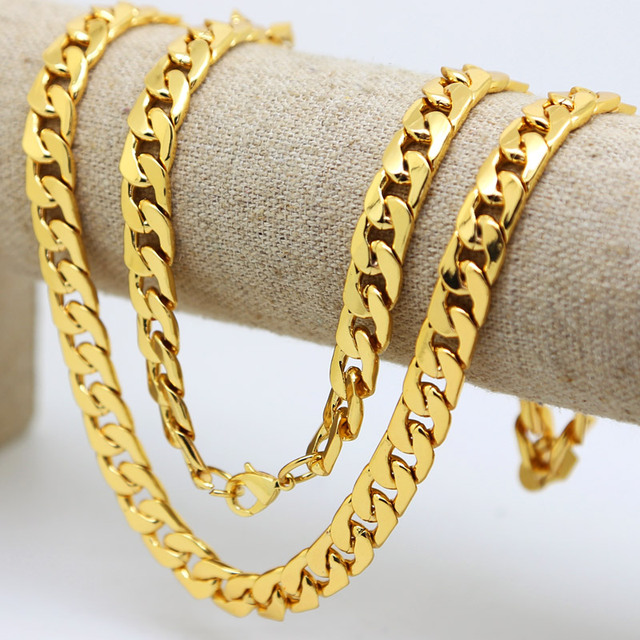10mm 30inch Real pure Yellow gold color Solid Cuban Curb Chain