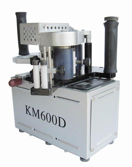 KM600 double slide glue portable edge banding machine,  manual hand held edge bander speed control model singal unit