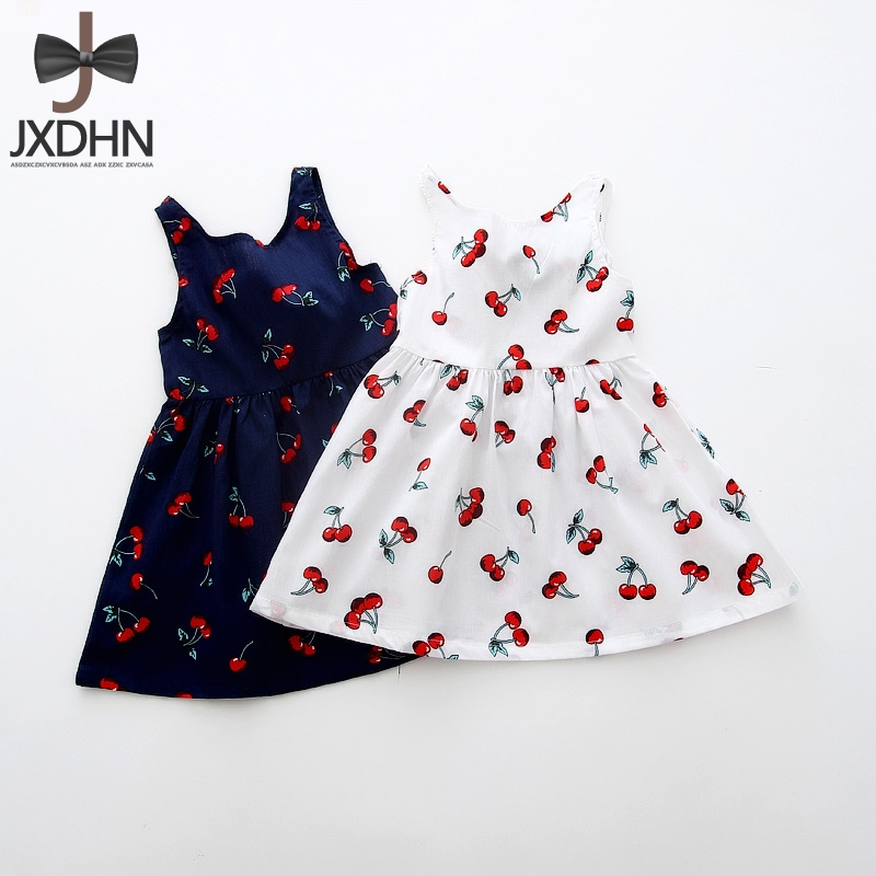 Summer School Girl New Dress Cute Cherry Print 6 7 8 Birthday Casual Princess Dresses for Girls Clothes Kids Children Clothing