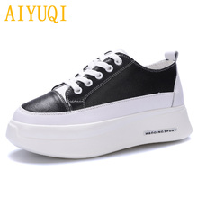 AIYUQI Women casual shoes 2019 spring new genuine leather women platform shoes, muffin bottom white single