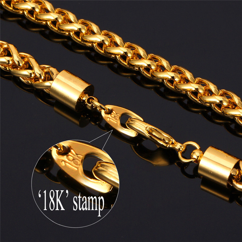 Singapore Gold Chain For Men Necklace 18K Stamp Trendy 6MM 55CM 22 ...