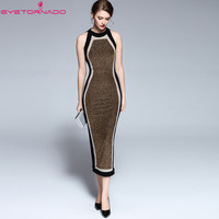 Women Summer Dress O Neck Color Block Bodycon Bandage Dress Ladies Sexy Sheath Work Office Party