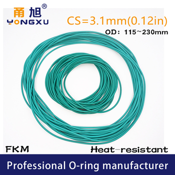 Green FKM fluororubber Rubber O-rings Seals CS3.1mm OD115/120/125/130/140/145/150/230*3.1mm Ring Seal Gasket Ring sealing Washer image