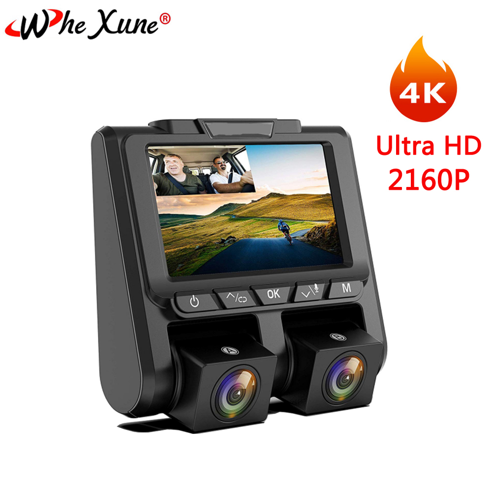 WHEXUNE Neue A1 Novatek 96660 Auto DVR kamera 4K 2160P 3 zoll Ultra HD Dual Objektiv Recorder Dash cam Parkplatz Monitor Nachtsicht
