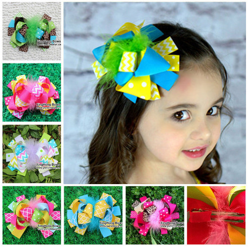 5.5-6 inch baby girls kids hair accessories children fashion feather hair ribbon bows clip barrette hair bow hairpins headwear 6pcs lot kids glitter color hair snap clip kids stars headwear five pointed stars hairpins hair accessories