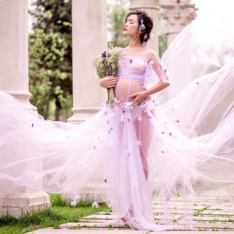 Lumière Pourpre De Maternité Robe Dentelle Fleur fée Dress Studio De Maternité Photographie Props Femmes Enceintes Robes Photo FlowerShoot
