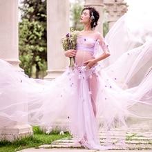 купить Light Purple Maternity Gown Lace Flower fairy Dress Studio Maternity Photography Props Pregnant Women Dresses Photo FlowerShoot дешево