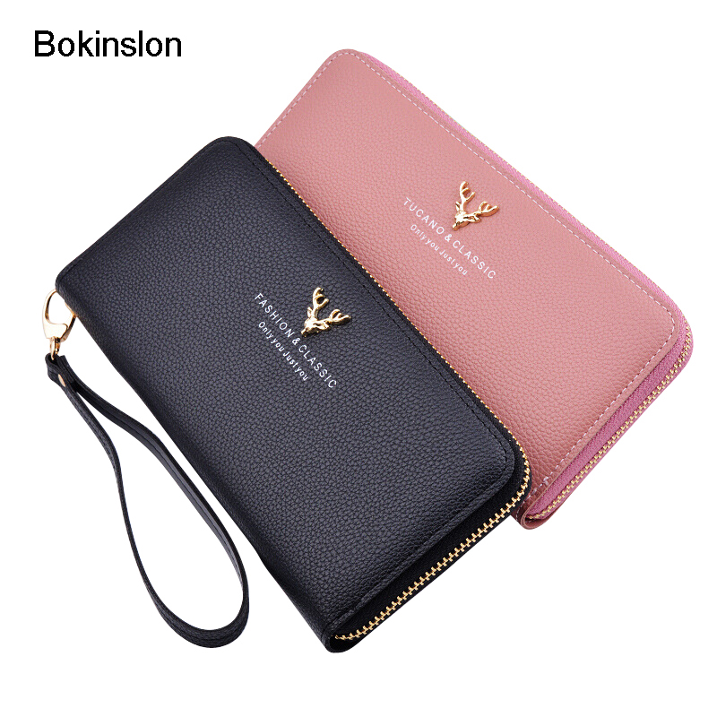 Bokinslon Wallets For Woman Large Capacity PU Leather Women Zipper Wallets Small Fresh Solid Color Long Section Wallet For Girls