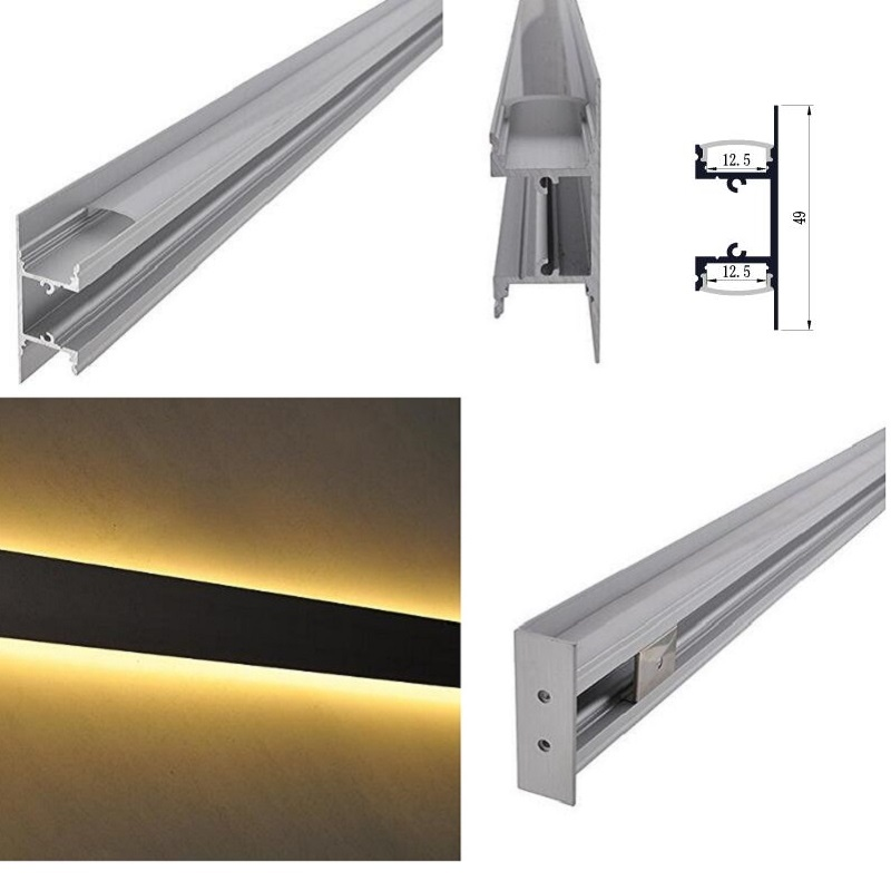 4Packs x 3 3ft 1m Aluminum Channel System with Cover End Cap and Mounting Clip for