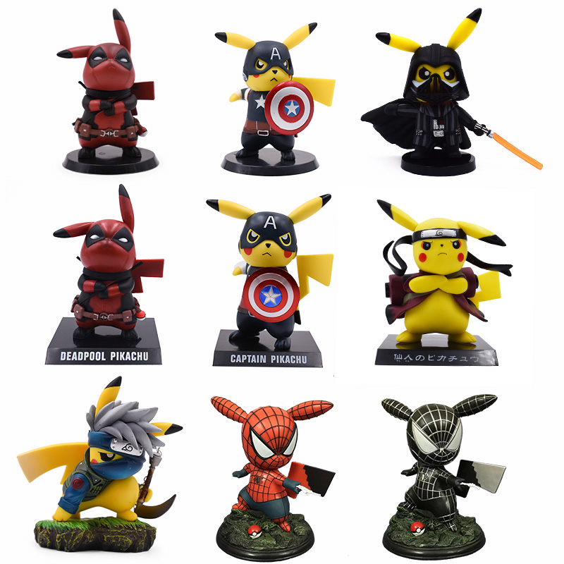 8-15cm 10 Style Pikachu Cosplay Naruto Deadpool Spiderman Captain America PVC Action Figure Collection Model Toys For Kids Gifts8-15cm 10 Style Pikachu Cosplay Naruto Deadpool Spiderman Captain America PVC Action Figure Collection Model Toys For Kids Gifts