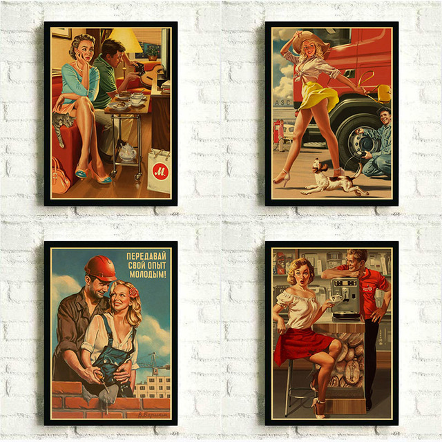World War II Pin Up Girl Vintage Kraft Paper Poster Bar Cafe Living Room Wall Decorative Paintings USSR Retro Poster No Frame